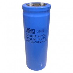 36DE40LG Capacitor, electrolytic, 60,000 uf/40vdc comptr grade, Marked 36de. mfgr: chemicon