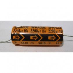 501D Capacitor 2200 uf 16v, axial, Sprague