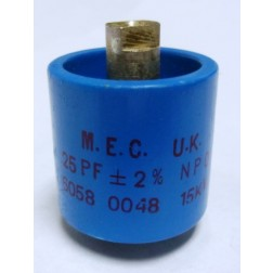 570025-15P-2 Doorknob Capacitor, 25pf 15kv (Clean Used) 2%