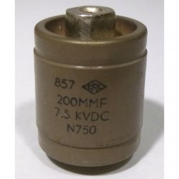570200-7P  Doorknob Capacitor, 200pf, 7.5kv (Large Size), Centralab / High Energy 857-200N  (Clean Used)