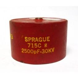 715C252Z30DK  Doorknob Capacitor, 2500pf 30kv, Sprague (Clean Used)