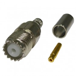 81-183-RFX Mini-UHF Female Crimp Connector, Straight, APL/RF