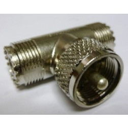 83-1T  In Series Tee Adapter, UHF Male to 2 Females, Amphenol