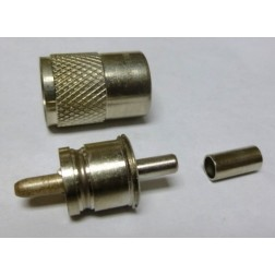 83-89 UHF Male Crimp Connector (PL259), Straight, Knurled Nut, APL/RF