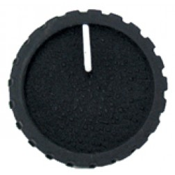 KNOB1G Black Knob, Black cap with White pointer, Flat finish, 1/4 shaft