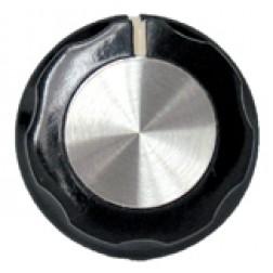 KNOB2A Tuning knob, black w/skirt, Chrome cap & white pointer
