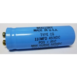 CG111T450R4C  Capacitor, Electrolytic 110 uf 450 vdc, Mallory