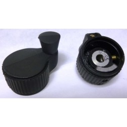 KNOB13  Tuning Knob, Black with Raised Center line Pointer and Weighted Brodie Knob