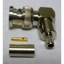 PE4730 Reverse Polarity Right Angle BNC Male Crimp Connector