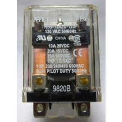 R55-11A20-120F  Relay, DPDT, 20 amp / 15vdc, 120 vac Coil, NTE