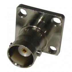 RFB1115-S BNC Female 4 Hole Panel Connector, Silver/Teflon, RF Industries