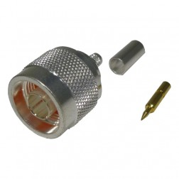 RFN1005-3C Type-N Male Crimp Connector, For RG58/LMR195 silver, RFI