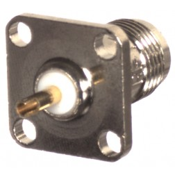 RFT1210 Connector, TNC Female 4 hole, Chasis mount w/solder cup, RFI