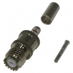 RFU601-1 Connector, mini-uhf(f) crimp, RFI