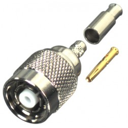 RP1202-1B Connector, TNC Reverse Polarity Male Crimp, RFI