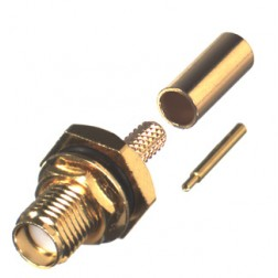 RP3252-1B Connector, SMA Reverse Polarity, Female Bulkhead Crimp, RFI