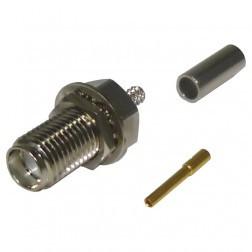 RSA3252-B, Connector, sma(f) Crimp, Bulkhead for rg174, rg316, RFI