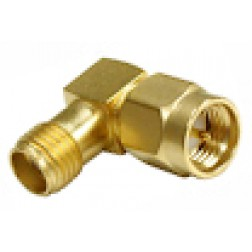 RSA3402-1 SMA IN Series Adapter, Male to Female, Right Angle, Gold, RFI