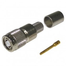 TC400TMRP Reverse Polarity TNC Male Crimp Connector, Knurled Nut, Solder Center Pin, Times