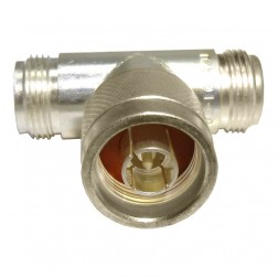 UG107A/U Type-N IN Series Adapter, Male to Double Female TEE, Silver, Amphenol