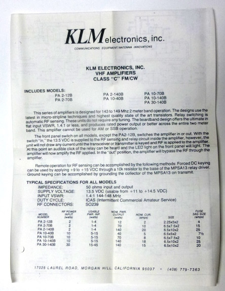 Pa10 40b Klm Amplifier Plan Set W Circuit Board Schematic And
