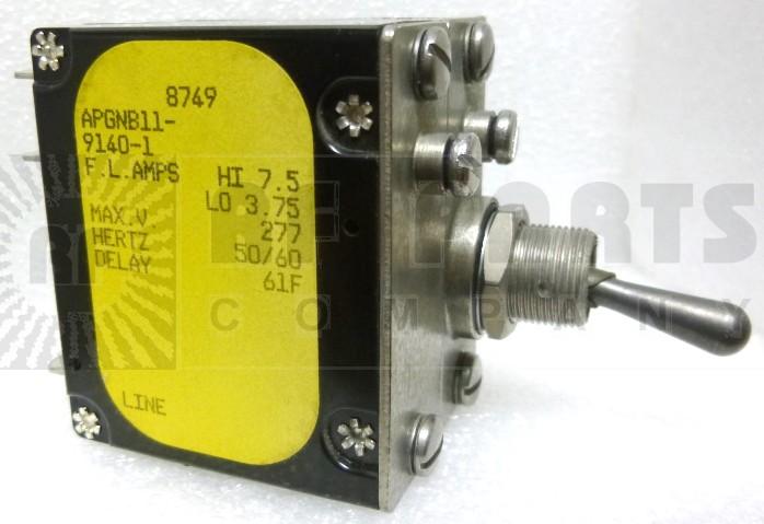 APGNB11-9140-1 Circuit Breaker, Dual AC, 7.5a, Airpax