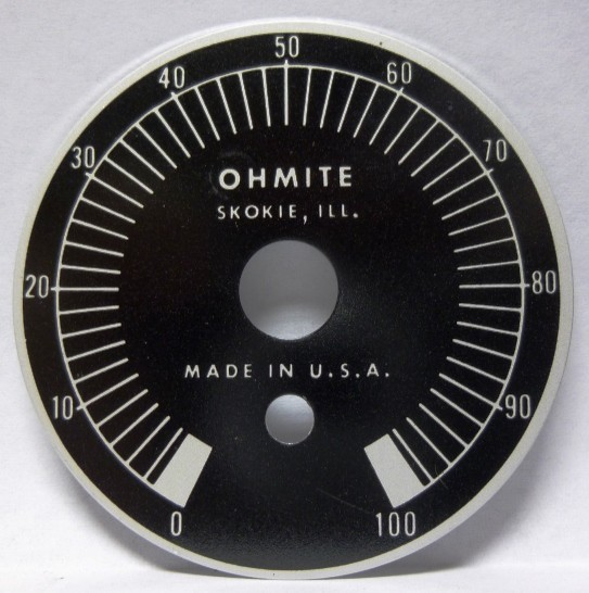 5000-DF  Dial Face for Wirewound  Rheostats, 0-100, Ohmite