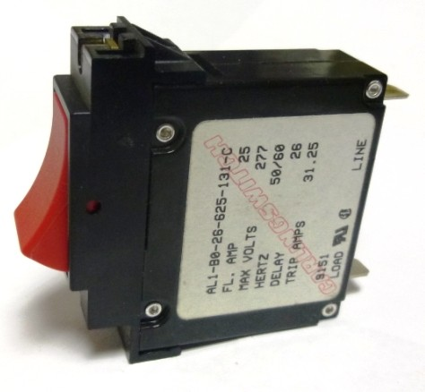 AL1-B0-26-625-131-C Circuit Breaker, Single AC, 25a, Carlingswitch