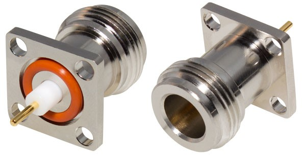 0-RFN1021-5 Type-N Female Chassis Connector, 4 Hole Panel, W/.260 PTFE Ext. RFI