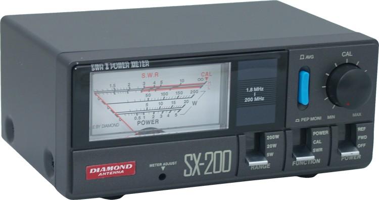 SX200 Wattmeter/VSWR, 1.8-200 MHz, 5/20/200 Watt scales, Diamond Antenna