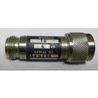 1B-6 Attenuator, Type-N Male/Female, 6dB, 5 Watt, Weinschel (Clean Used)