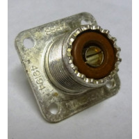 1-SO239-S  UHF Female 4 Hole Chassis Connector, (SO-239), Solder Cup, Silver / Bakelite, Amphenol (Old Version)