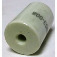 "NL523W03-008 Standoff Insulator, Glazed Ceramic, 1"" Long x 3/4"" Diameter with Threaded Mounting Holes"