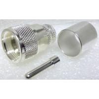 1-PL259-600 UHF Male Crimp Type Connector, Silver/PTFE LMR600