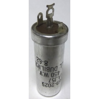 UP1AJ57 Capacitor 10 uf 450v twist lock metal can, CDE