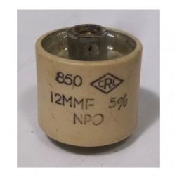 580012-5P Doorknob Capacitor , 12pf 5kv, Clean pullout