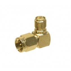 132172  IN Series Adapter, SMA Male to SMA Female, Right Angle, Gold, Amphenol