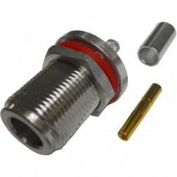 172149  Type-N Female Crimp Connector, Bulkhead, Cable Group X, Amphenol