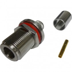 172108  Type-N Female Crimp Connector, Bulkhead, Cable Group E, Amphenol