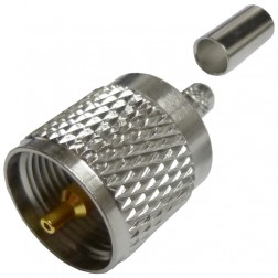 182115  UHF Male Crimp Connector, (PL259), Cable Group X,  Amphenol