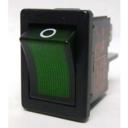1855 Rocker Switch, DPST, 4a 250vac, Green Illuminated