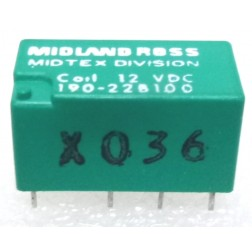 190-22B100  Relay, DPDT, 12 vdc, 2 Amp, High Sensitivity, DIP, PC Board Relay, MIdland Ross (Midtex)