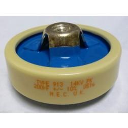 200-14 Capacitor, Doorknob, 200pf 14kv, Mfg: Matroc (M.E.C) UK