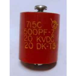 20DKT5 Capacitor, doorknob 500pf 20kv. Mfg: Sprague