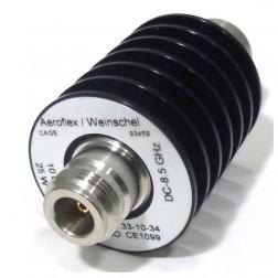 33-10-34  Attenuator, 10dB 25 watt, DC-8.5 GHz, Aeroflex/Weinschel (NOS)