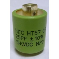 570025-15 Doorknob Capacitor, 25pf 15kv, New, Mfg: High Energy