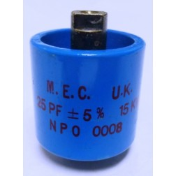570025-15P-5 Doorknob Capacitor, 25pf 15kv (Clean Used) 5%, MFR: M.E.C. UK