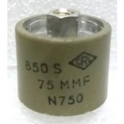 580075-5P Doorknob Capacitor, 75pf 5kv, Clean pullout