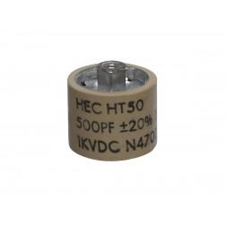 580500-1P Capacitor Doorknob, 500pf 1kv, 20%, HEC, (Clean pullout)