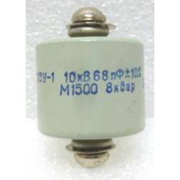 68-10  Doorknob Capacitor, 68pf 10kv, 10% Mfg: Radio Komp